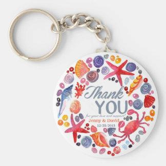 Beach Wreath Personalized Key Ring Wedding Favor Basic Round Button Keychain