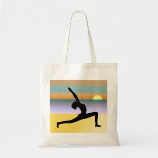 Beach Yoga Woman Posing Silhouette Budget Tote Bag