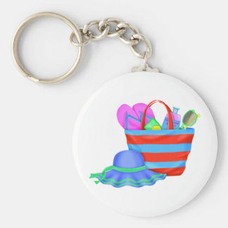 beachbag and hat multicolored basic round button keychain