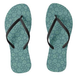 Beachcomber shapes in green flip flops