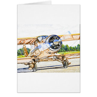 Beachcraft Staggerwing Vintage aircraft Card