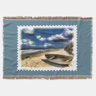 Beached Boat at Ocean Coast Storm Gathering Stamp Throw