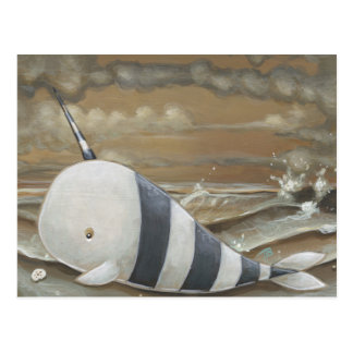 Beached Narwhal fantasy art postcard