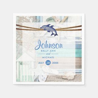 Beachfront Dolphin Wedding Paper Napkin