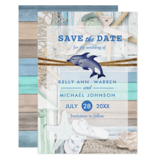 Beachfront Dolphin Wedding - Save the Date Card