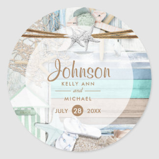 Beachfront Wedding Classic Round Sticker
