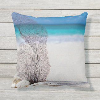 Beaching It Coral Throw Pillow