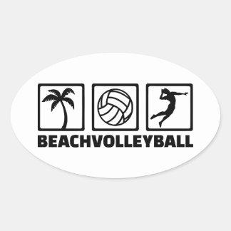 Beachvolleyball Oval Sticker