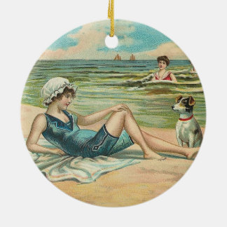 Beachy Antique Seashore Illustration Ceramic Ornament