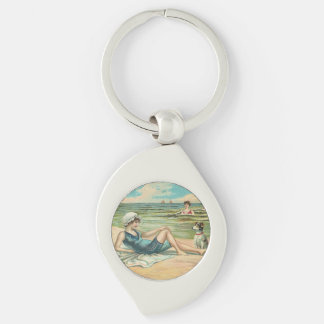 Beachy Antique Seashore Illustration Keychain