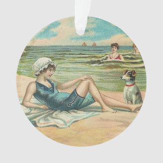 Beachy Antique Seashore Illustration Ornament