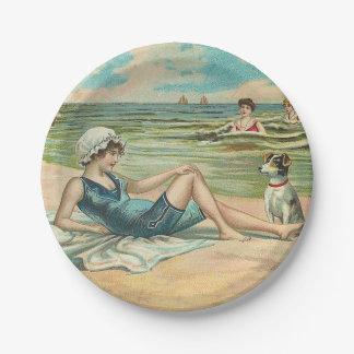 Beachy Antique Seashore Illustration Paper Plate