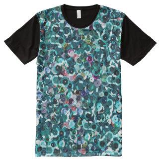 Beachy Aqua Blue Faux Sequins All-Over-Print T-Shirt