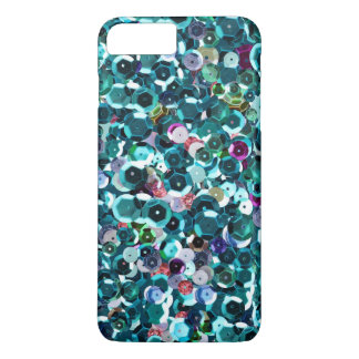 Beachy Aqua Blue Faux Sequins Case-Mate iPhone Case