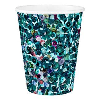 Beachy Aqua Blue Faux Sequins Paper Cup