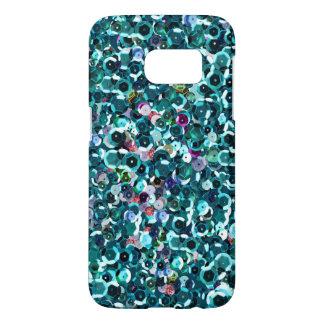Beachy Aqua Blue Faux Sequins Samsung Galaxy S7 Case