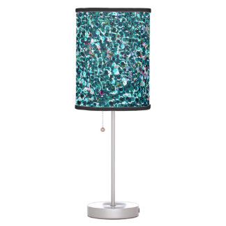 Beachy Aqua Blue Faux Sequins Table Lamp