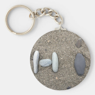 Beachy Art Sand Rock Hi Simple Cute Basic Round Button Keychain