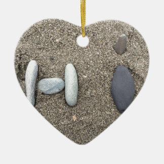 Beachy Art Sand Rock Hi Simple Cute Ceramic Heart Ornament