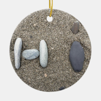 Beachy Art Sand Rock Hi Simple Cute Round Ceramic Ornament
