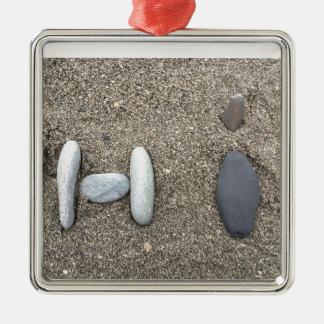 Beachy Art Sand Rock Hi Simple Cute Silver-Colored Square Ornament