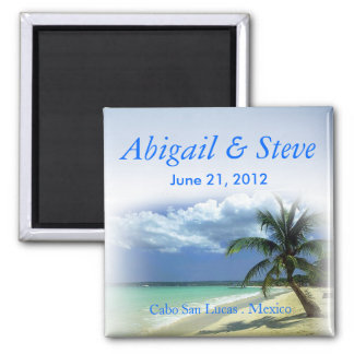 Beachy Beach Cabo Resort Wedding Favor Keepsake Square Magnet