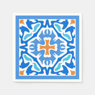 Beachy Blue Abstract with Orange Accent Paper Napkin