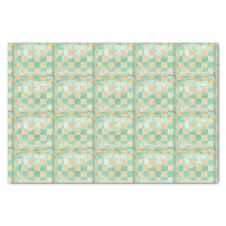Beachy Blue & Sand Checks match Christmas Mermaid Tissue Paper