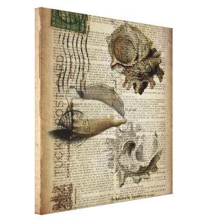beachy dictionary print modern vintage seashell