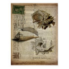 beachy dictionary print modern vintage seashell postcard