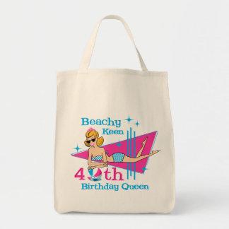 Beachy Keen 40th Birthday Canvas Bag