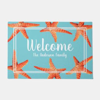 Beachy Nautical Red Starfish Welcome & Family Name Doormat