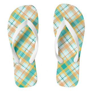beachy preppy hipster turquoise and gold plaid flip flops