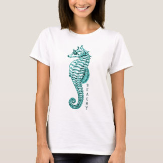 BEACHY SEAHORSE PRINT IN TEAL T-Shirt