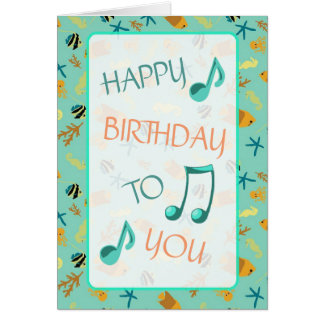 Beachy Themed Happy Birthday Card