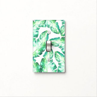 Beachy White Green Tropical Leaves Island Tropics Light Switch Cover