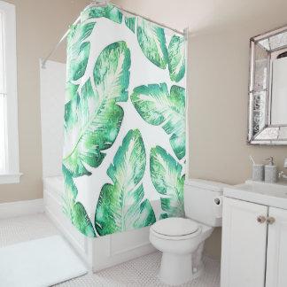 Beachy White & Green Tropical Palm Leaves Chic