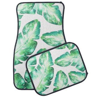 Beachy White & Green Tropical Palm Leaves Chic Car Mat