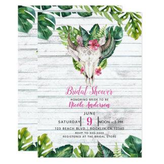 Beachy Wood Boho Skull Tropical Floral Leaves Card
