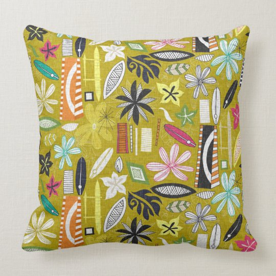 beachy yellow throw pillow