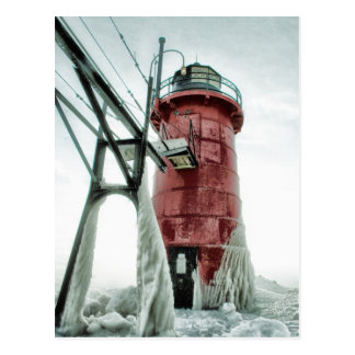Beacon Frozen Red South Haven Lighthouse Winter Postcard