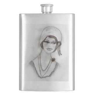 Beaded Flapper Girl Hip Flask