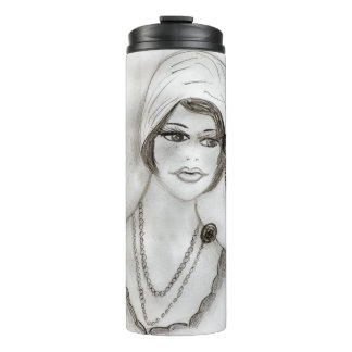 Beaded Flapper Girl Thermal Tumbler