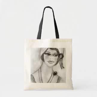 Beaded Flapper Girl Tote Bag