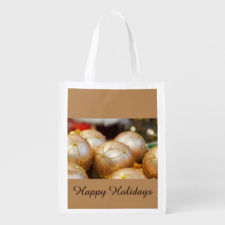 Beaded Flower Gold Ball Ornaments Reusable Grocery Bag