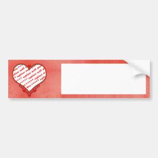 Beaded Heart Photo Frame Car Bumper Sticker