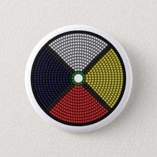 Beaded Medicine Wheel 2 Inch Round Button
