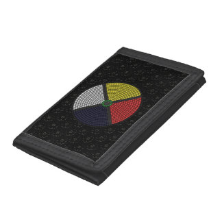 Beaded Medicine Wheel Trifold Wallets
