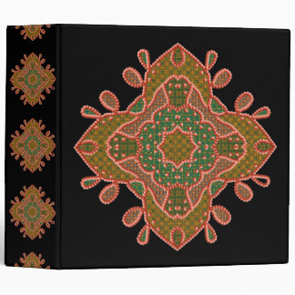 Beaded Motif On Black Background Binder