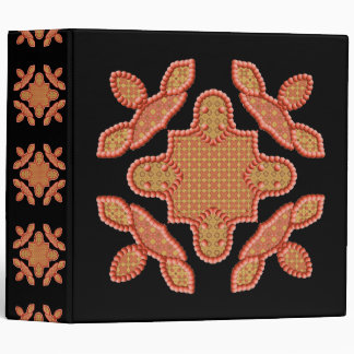 Beaded Peach And Gold Design 3 Ring Binder